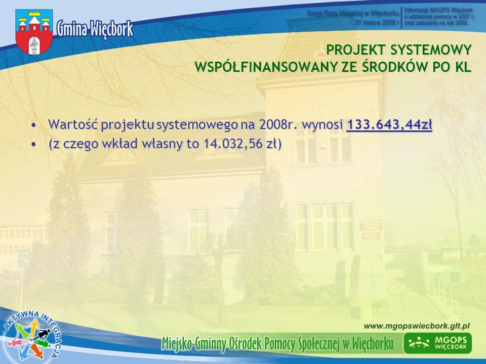 PROJEKT SYSTEMOWY WSPÓŁFINANSOWANY ZE ŚRODKÓW PO KL Wartość projektu systemowego na 2008r. wynosi 133.643,44złWartość projektu systemowego na 2008r. w
