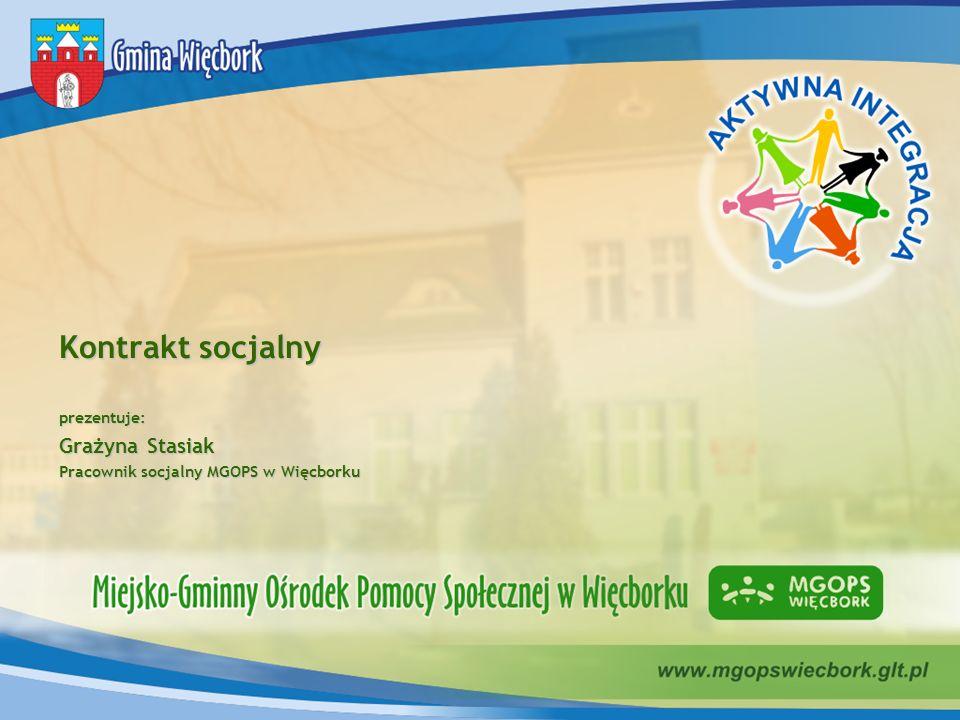 Kontrakt socjalny prezentuje: Grażyna Stasiak Pracownik socjalny MGOPS w Więcborku