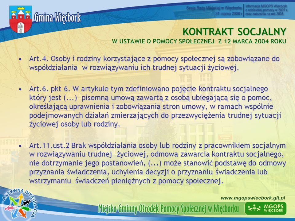 KONTRAKT SOCJALNY W USTAWIE O POMOCY SPOŁECZNEJ Z 12 MARCA 2004 ROKU Art.4. Osoby i rodziny korzystające z pomocy społecznej są zobowiązane do współdz