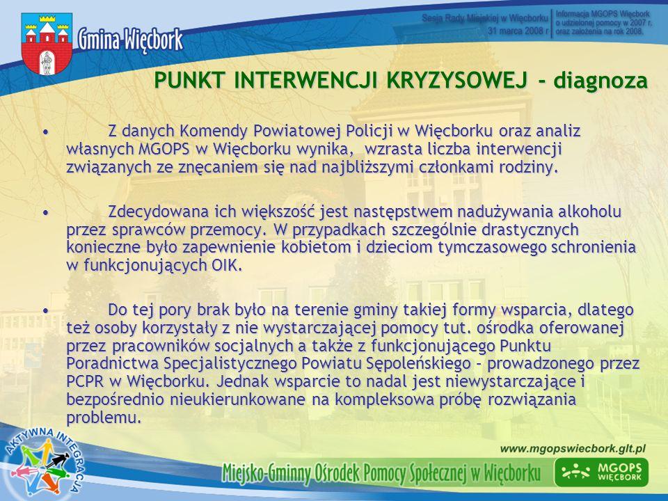 PUNKT INTERWENCJI KRYZYSOWEJ - diagnoza Z danych Komendy Powiatowej Policji w Więcborku oraz analiz własnych MGOPS w Więcborku wynika, wzrasta liczba