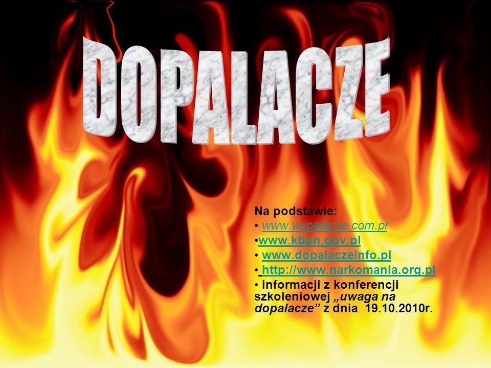 Na podstawie: www.wypalacze.com.pl www.kbpn.gov.pl www.dopalaczeinfo.pl http://www.narkomania.org.pl informacji z konferencji szkoleniowej uwaga na do