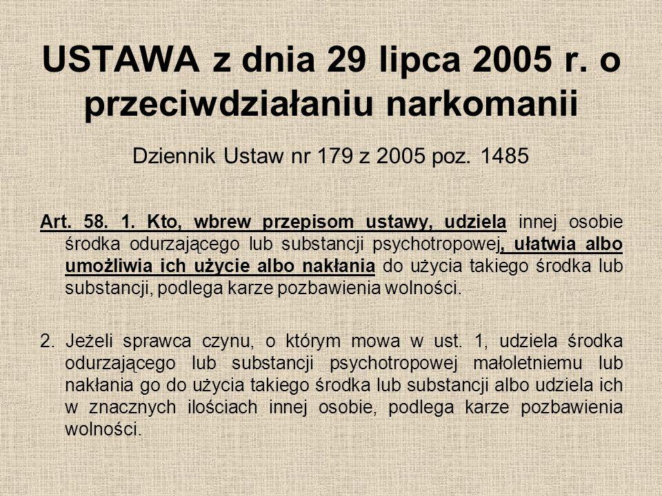 USTAWA z dnia 29 lipca 2005 r. o przeciwdziałaniu narkomanii Dziennik Ustaw nr 179 z 2005 poz. 1485 Art. 58. 1. Kto, wbrew przepisom ustawy, udziela i