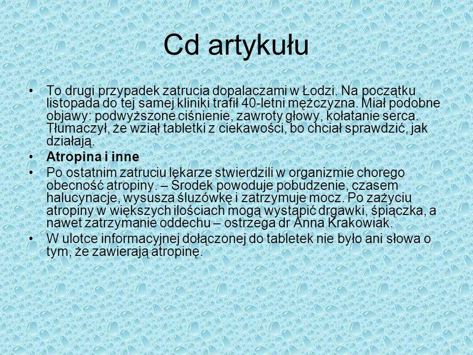 Cd artykułu To drugi przypadek zatrucia dopalaczami w Łodzi. Na początku listopada do tej samej kliniki trafił 40-letni mężczyzna. Miał podobne objawy