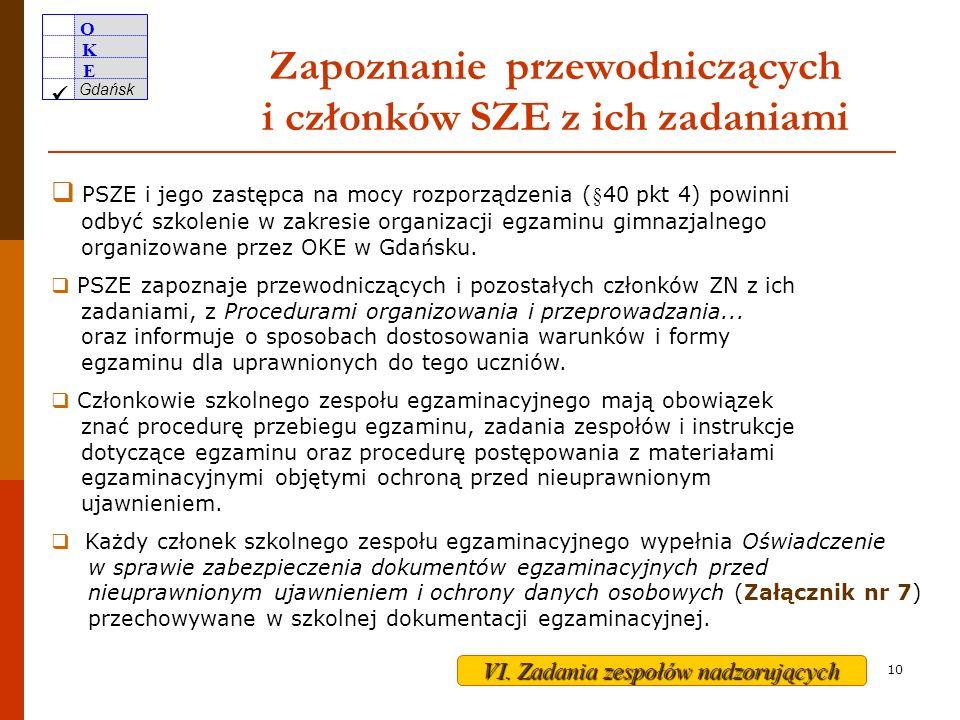 O K E Gdańsk 9 Informowanie OKE o składzie ZN pobierz plik Odpowiednia część egzaminu może się rozpocząć, jeśli liczba członków oraz skład zespołu nadzorującego są zgodne z Rozporządzeniem.