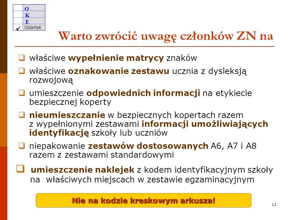 O K E Gdańsk 10 Zapoznanie przewodniczących i członków SZE z ich zadaniami PSZE i jego zastępca na mocy rozporządzenia (§40 pkt 4) powinni odbyć szkolenie w zakresie organizacji egzaminu gimnazjalnego organizowane przez OKE w Gdańsku.