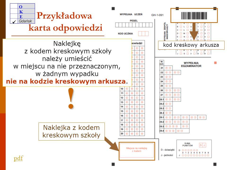 O K E Gdańsk 11 Warto zwrócić uwagę członków ZN na właściwe wypełnienie matrycy znaków właściwe oznakowanie zestawu ucznia z dysleksją rozwojową umieszczenie odpowiednich informacji na etykiecie bezpiecznej koperty nieumieszczanie w bezpiecznych kopertach razem z wypełnionymi zestawami informacji umożliwiających identyfikację szkoły lub uczniów niepakowanie zestawów dostosowanych A6, A7 i A8 razem z zestawami standardowymi Nie na kodzie kreskowym arkusza.
