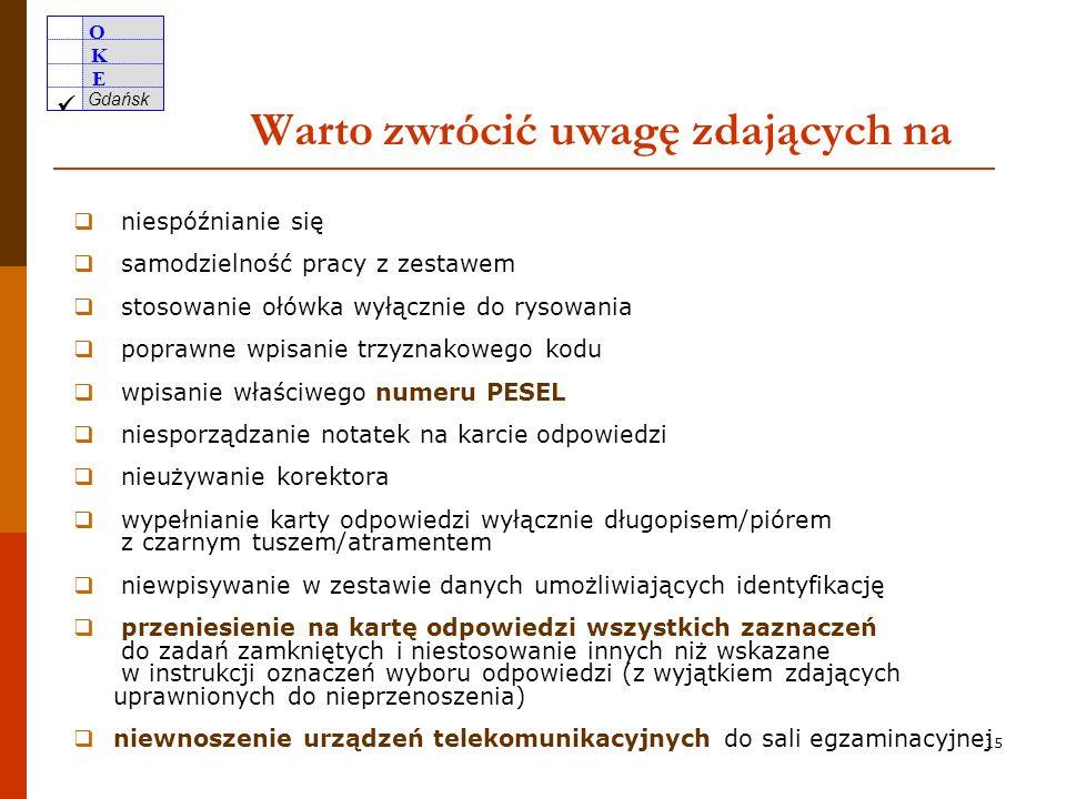 O K E Gdańsk 14 Poinformowanie uczniów (słuchaczy) o warunkach przebiegu egzaminu prawa i obowiązki zdającego prawa i obowiązki zdającego zasady postępowania z arkuszem zasady kodowania i wypełniania karty odpowiedzi zasady kodowania i wypełniania karty odpowiedzi 8.