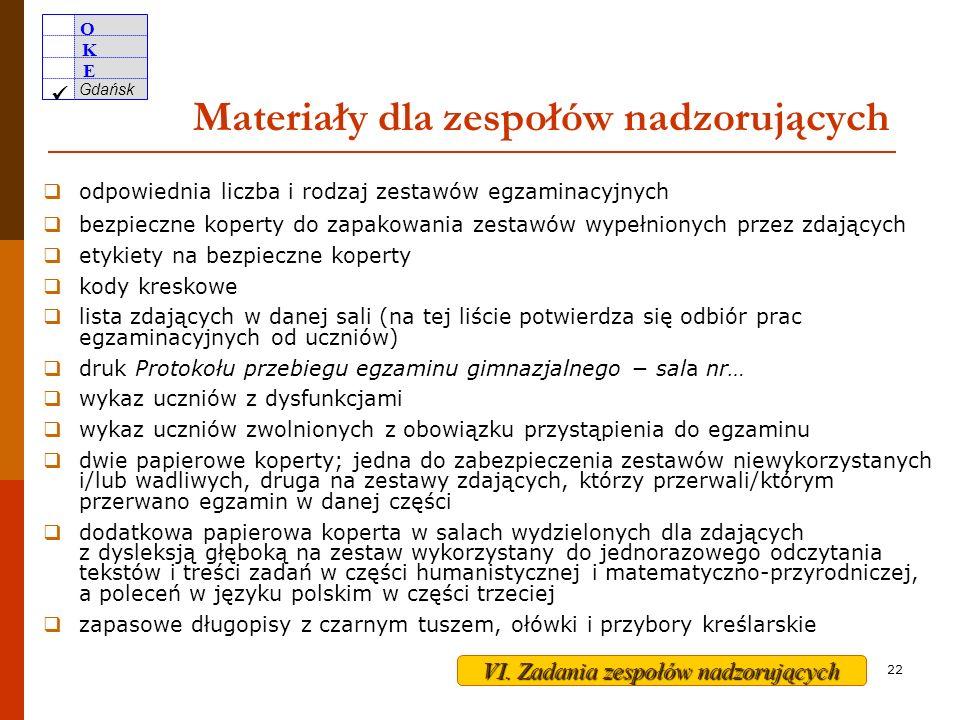 O K E Gdańsk 21 Nadzorowanie przygotowania sal egzaminacyjnych oddzielny stolik (ławka) dla każdego zdającego, wszystkie ustawione w jednym kierunku, w odległości zapewniającej samodzielność pracy zdających odpowiednie stanowiska dla uczniów uprawnionych do dostosowania warunków egzaminu dla każdego zdającego kartka z nazwiskiem, imionami, numerem PESEL oraz kodem zdającego w widocznym miejscu sprawny zegar oraz tablica lub plansza miejsca dla zespołu nadzorującego i obserwatorów brak pomocy dydaktycznych (np.