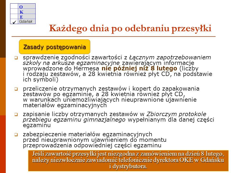 O K E Gdańsk 25 W momencie odbioru przesyłki sprawdzenie zawartości opakowania w obecności kuriera zapisanie informacji dotyczących uszkodzenia w doku