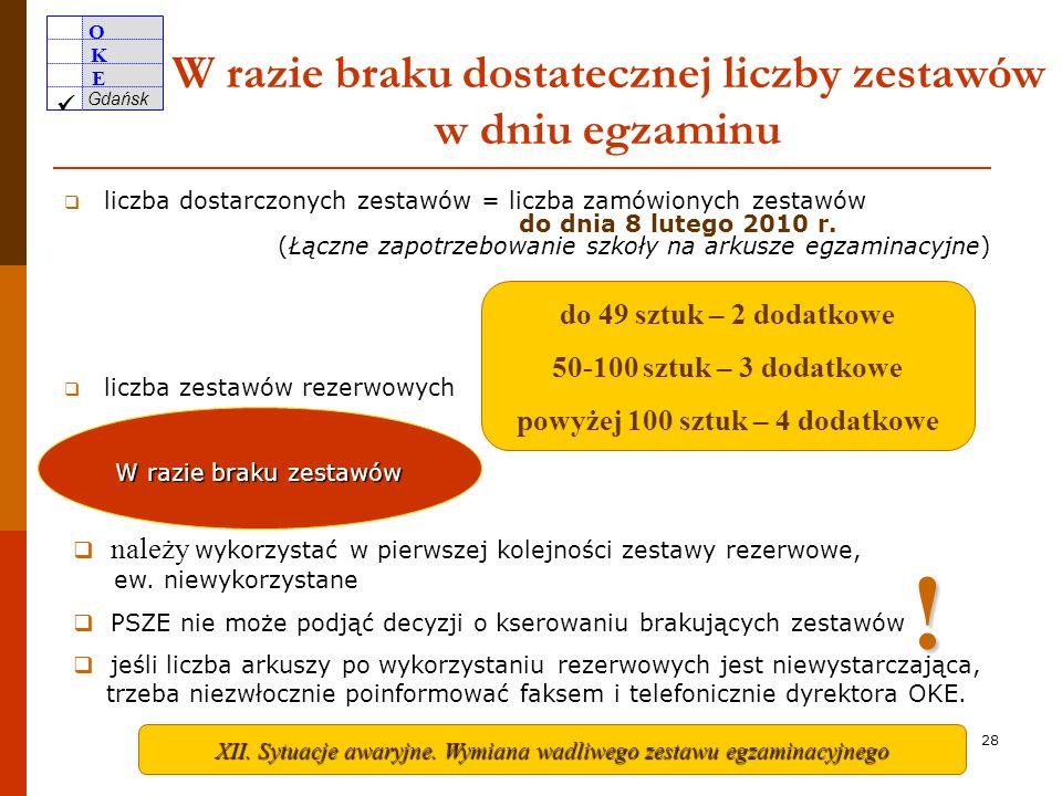 O K E Gdańsk 27 Ankieta pdf Będzie zamieszczona w Serwisie dla dyrektorów 27 kwietnia. Tylko w razie wystąpienia niepożądanych sytuacji w zakresie dys