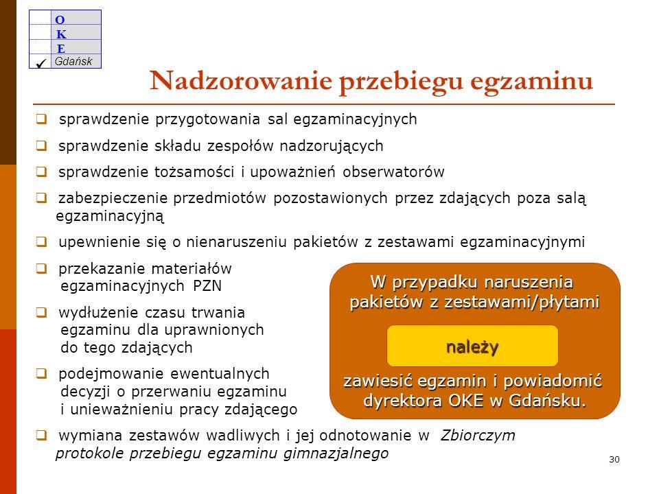 O K E Gdańsk 29 W razie braku dostatecznej liczby bezpiecznych kopert stosować koperty papierowe pakować w nie jak najmniej zestawów koperty papierowe opisać na wzór etykiet OKE w Gdańsku odnotować w Uwagach w Protokole przebiegu egzaminu gimnazjalnego – sala nr… (Załącznik nr 8b) oraz w Zbiorczym protokole przebiegu egzaminu gimnazjalnego z danej części (Załącznik nr 9b lub 9c) W razie braku liczba dostarczonych kopert = liczba zamówionych kopert według stanu na 8 lutego 2010 r.