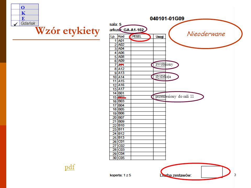 O K E Gdańsk 32 wyłącznie Odrywanie kart odpowiedzi od zestawów zadań wyłącznie w części językowej 1. Nie wolno odrywać kart odpowiedzi od zestawów za