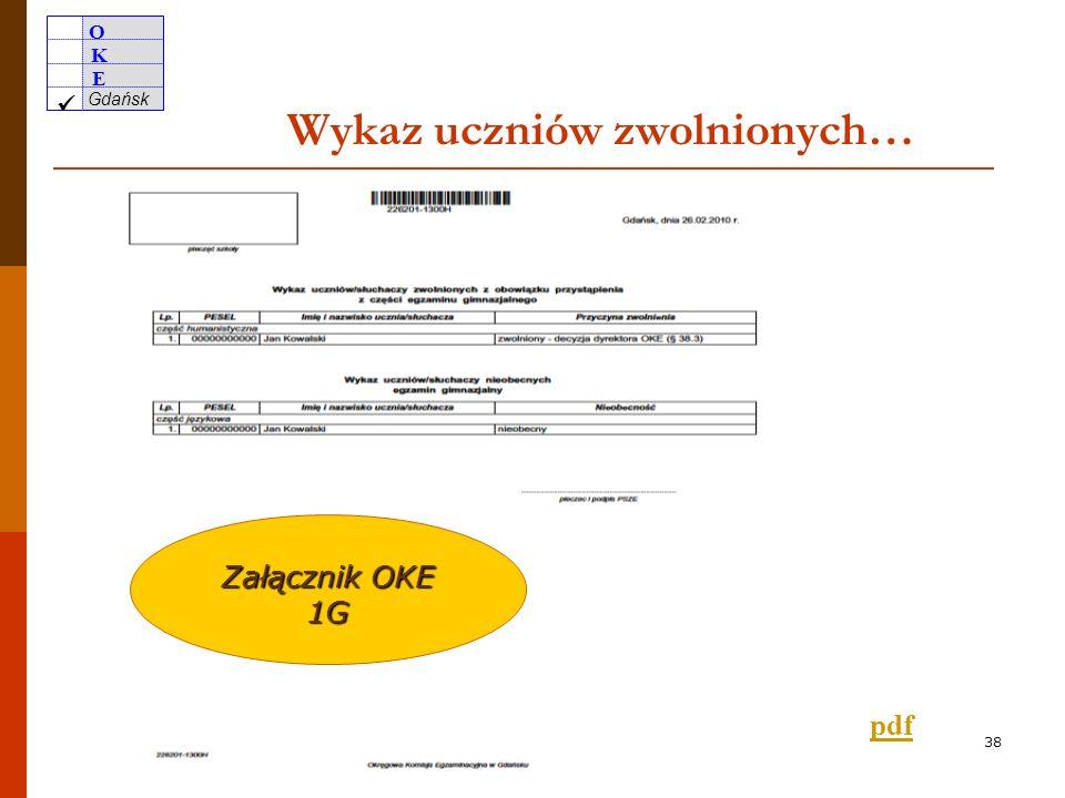 O K E Gdańsk 37 Zgłaszanie uczniów/słuchaczy z różnych powodów nieobecnych na egzaminie pdf nieobecni oraz zwolnieni, w tym laureaci konkursów przedmiotowych i laureaci i finaliści olimpiad przedmiotowych