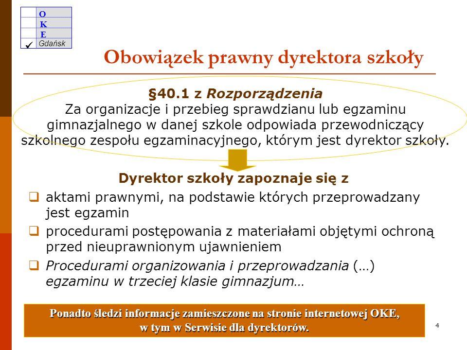 O K E Gdańsk 3 Wzory wszystkich dokumentów obowiązujących przy organizowaniu i przeprowadzaniu egzaminu gimnazjalnego w roku szkolnym 2009/2010 zostały zamieszczone w formacie Microsoft Word na stronie internetowej OKE w Gdańsku www.oke.gda.pl w zakładce Procedury.www.oke.gda.pl Wzory dokumentów