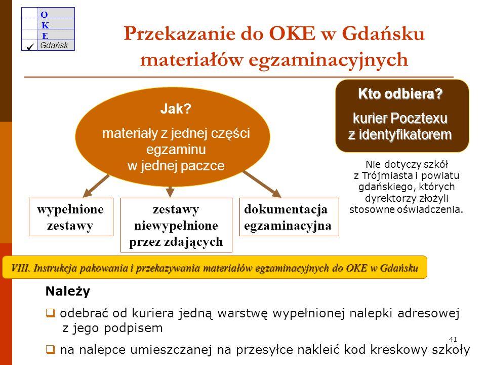 O K E Gdańsk 40 Zabezpieczenie materiałów egzaminacyjnych po egzaminie zestawy wypełnione przez uczniów w bezpiecznych kopertach zaklejonych w salach
