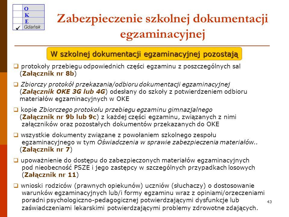 O K E Gdańsk 42 Przekazanie do OKE w Gdańsku materiałów egzaminacyjnych 27.04.2010 28.04.2010 29.04.2010 przekazanie materiałów z części humanistyczne