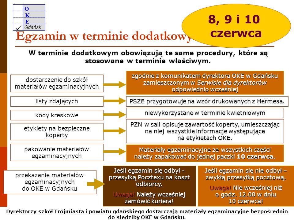 O K E Gdańsk 45 Zapotrzebowania na arkusze na termin dodatkowy pdf od 27 kwietnia do 12 maja