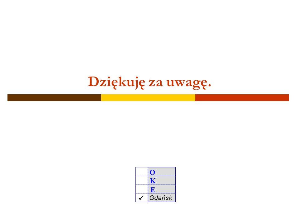 O K E Gdańsk 50 Ważne telefony w razie braku zestawów egzaminacyjnych w dniu egzaminu w razie błędów w danych uczniów/słuchaczy (Hermes, zaświadczenia o wynikach) inne sprawy związane z procedurami organizowania i przeprowadzania egzaminu gimnazjalnego 58 320 55 92 320 55 62 501 236 965 58 320 55 83 320 55 62 58 320 55 76 320 55 67 - sekretariat - kierownik Wydziału Organizacyjno-Administracyjnego - komórka do p.