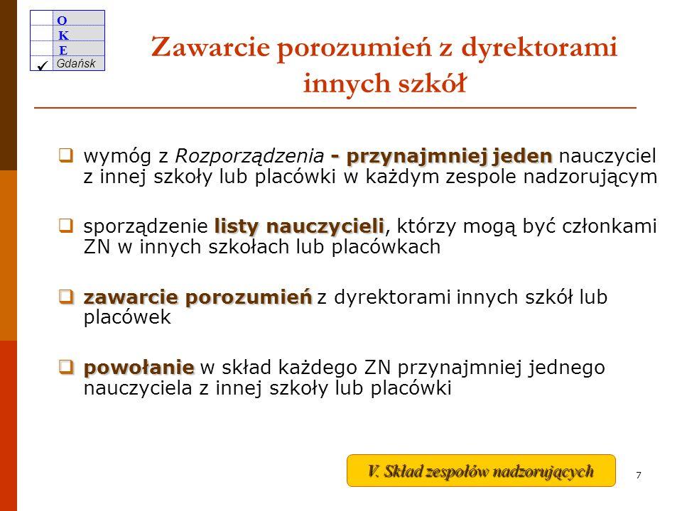 O K E Gdańsk 6 Harmonogram głównych zadań PSZE po 15 marca ustalenie składu zespołów nadzorujących przebieg egzaminu powołanie i przeszkolenie przewodniczących i członków ZN w poszczególnych salach nie później niż na miesiąc przed terminem egzaminu zawarcie porozumień z dyrektorami innych szkół lub placówek w sprawie pozyskania nauczycieli do zespołów nadzorujących Realizacja do 27 marca