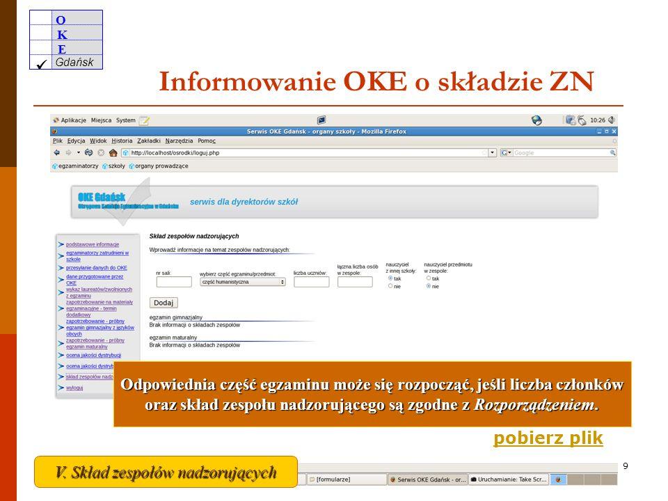 O K E Gdańsk 8 Skład zespołów nadzorujących przebieg egzaminu + do 30 zdających PZE 2 + 30-50 zdających PZE3 + 50-70 zdających PZE 4 co najmniej jeden nauczyciel z innej szkoły lub placówki Przewodniczący i członkowie ZN nie mogą być nauczycielami przedmiotów wchodzących w zakres danej części egzaminu gimnazjalnego.