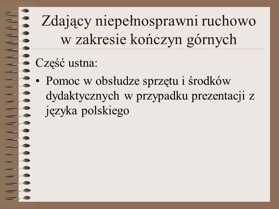 Zdający niepełnosprawni ruchowo w zakresie kończyn górnych Część ustna: Pomoc w obsłudze sprzętu i środków dydaktycznych w przypadku prezentacji z języka polskiego