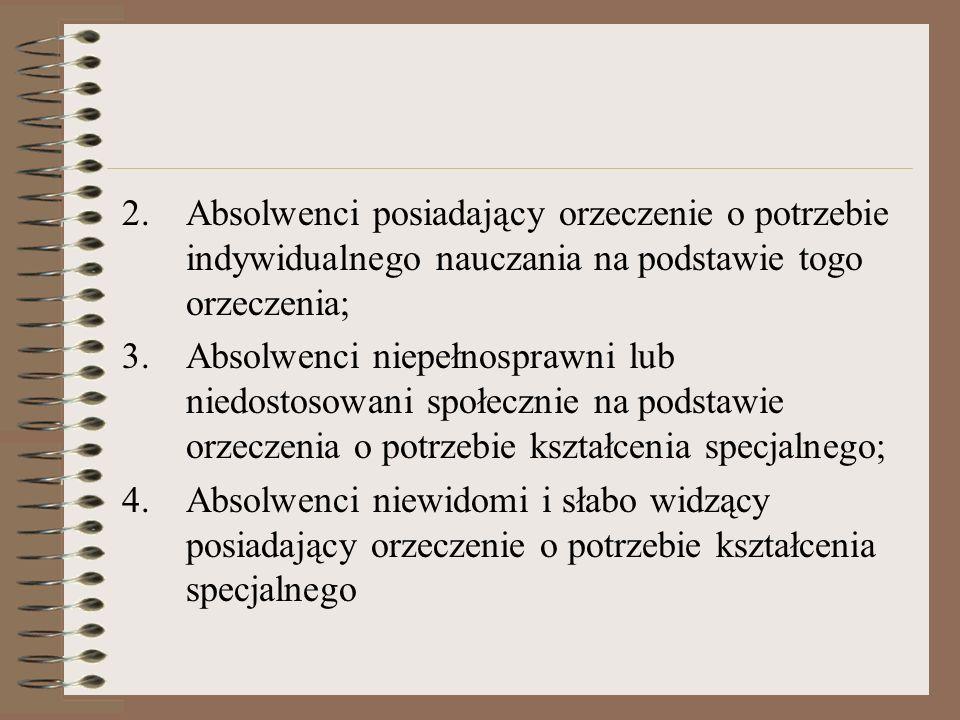 2.Absolwenci posiadający orzeczenie o potrzebie indywidualnego nauczania na podstawie togo orzeczenia; 3.Absolwenci niepełnosprawni lub niedostosowani społecznie na podstawie orzeczenia o potrzebie kształcenia specjalnego; 4.Absolwenci niewidomi i słabo widzący posiadający orzeczenie o potrzebie kształcenia specjalnego