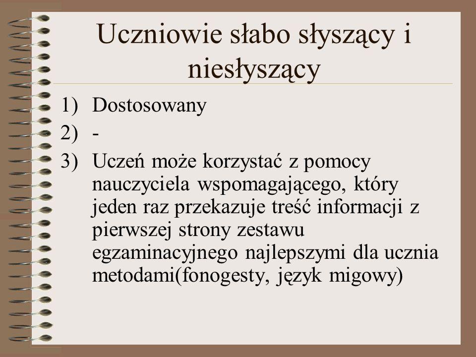 Uczniowie słabo słyszący i niesłyszący 1)Dostosowany 2)- 3)Uczeń może korzystać z pomocy nauczyciela wspomagającego, który jeden raz przekazuje treść informacji z pierwszej strony zestawu egzaminacyjnego najlepszymi dla ucznia metodami(fonogesty, język migowy)