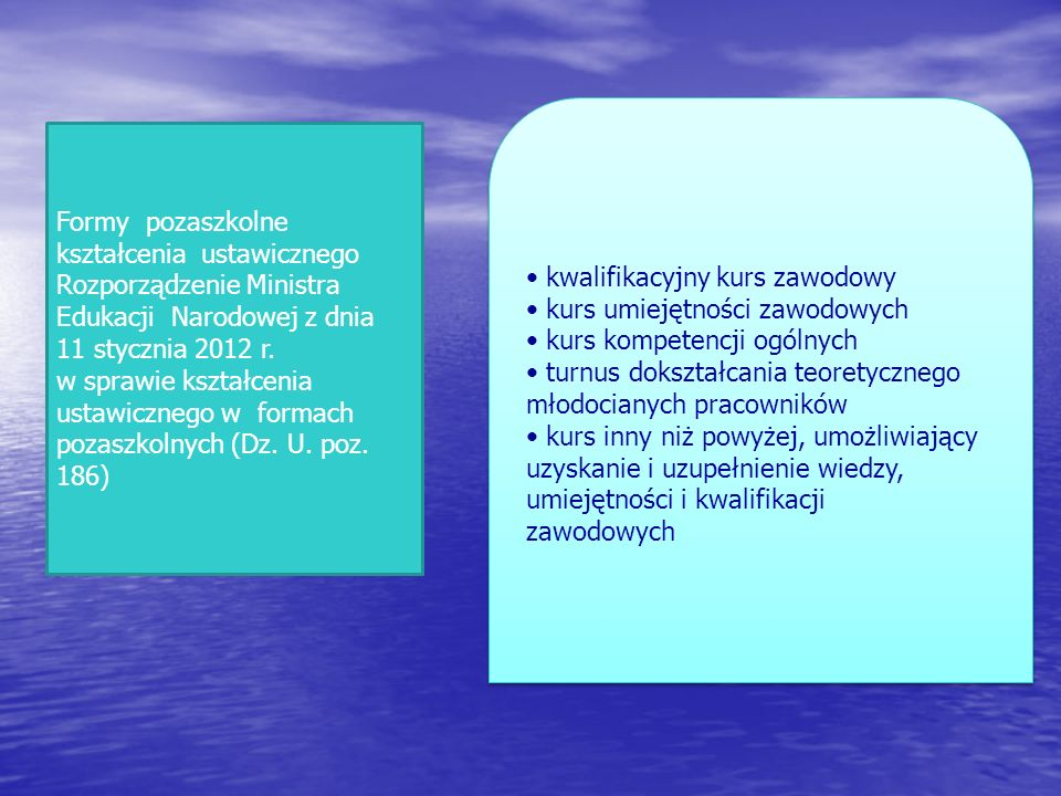 Formy pozaszkolne kształcenia ustawicznego Rozporządzenie Ministra Edukacji Narodowej z dnia 11 stycznia 2012 r. w sprawie kształcenia ustawicznego w