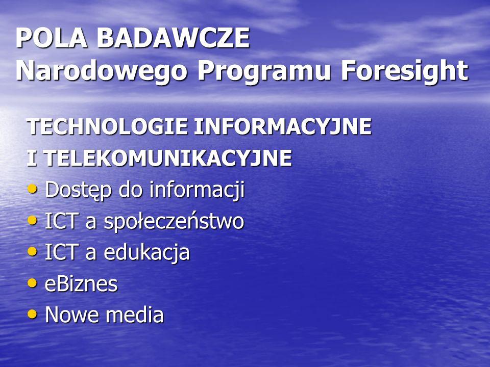 POLA BADAWCZE Narodowego Programu Foresight TECHNOLOGIE INFORMACYJNE I TELEKOMUNIKACYJNE Dostęp do informacji Dostęp do informacji ICT a społeczeństwo ICT a społeczeństwo ICT a edukacja ICT a edukacja eBiznes eBiznes Nowe media Nowe media