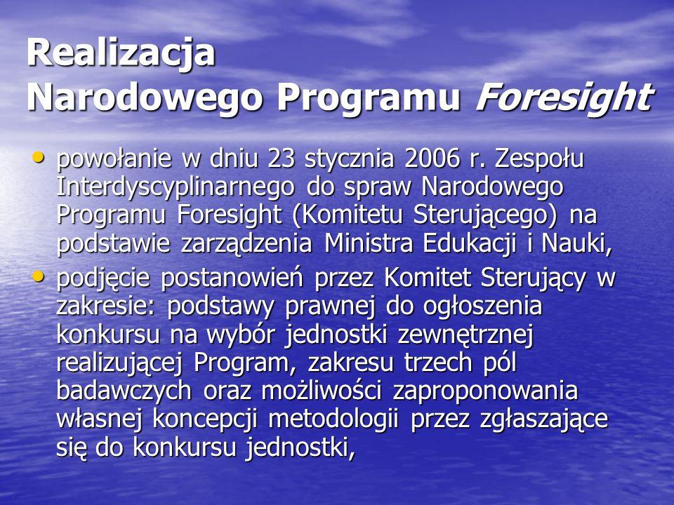 Realizacja Narodowego Programu Foresight powołanie w dniu 23 stycznia 2006 r.