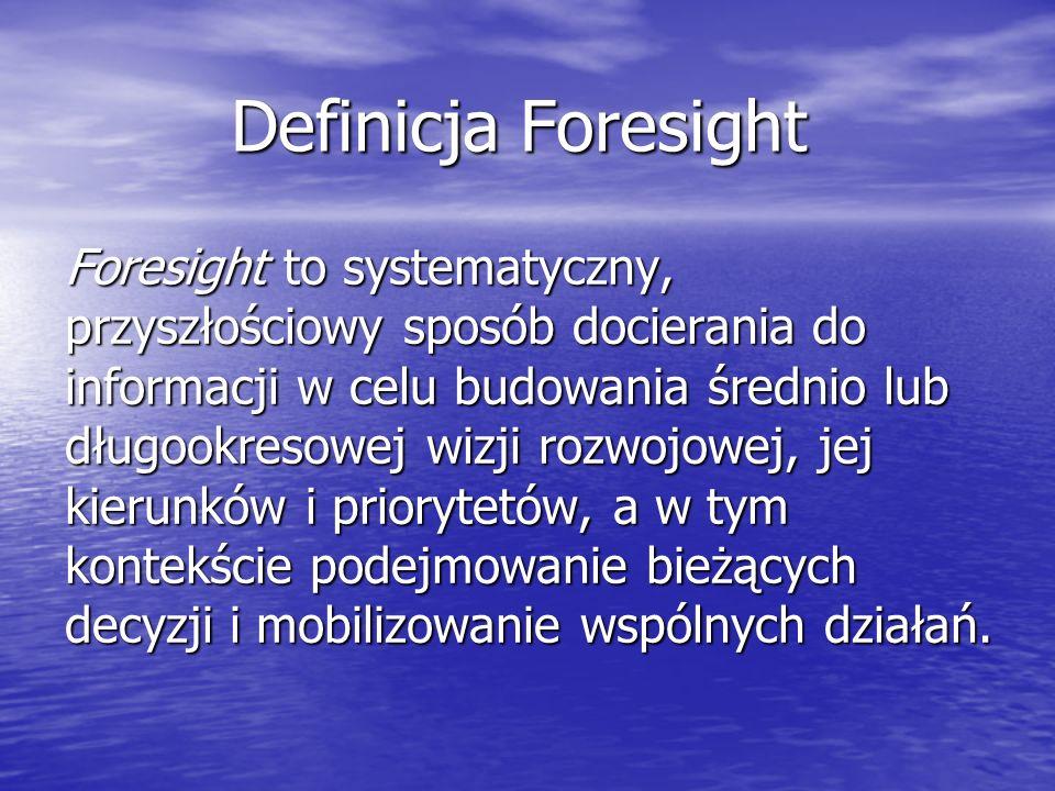 Definicja Foresight Foresight to systematyczny, przyszłościowy sposób docierania do informacji w celu budowania średnio lub długookresowej wizji rozwojowej, jej kierunków i priorytetów, a w tym kontekście podejmowanie bieżących decyzji i mobilizowanie wspólnych działań.