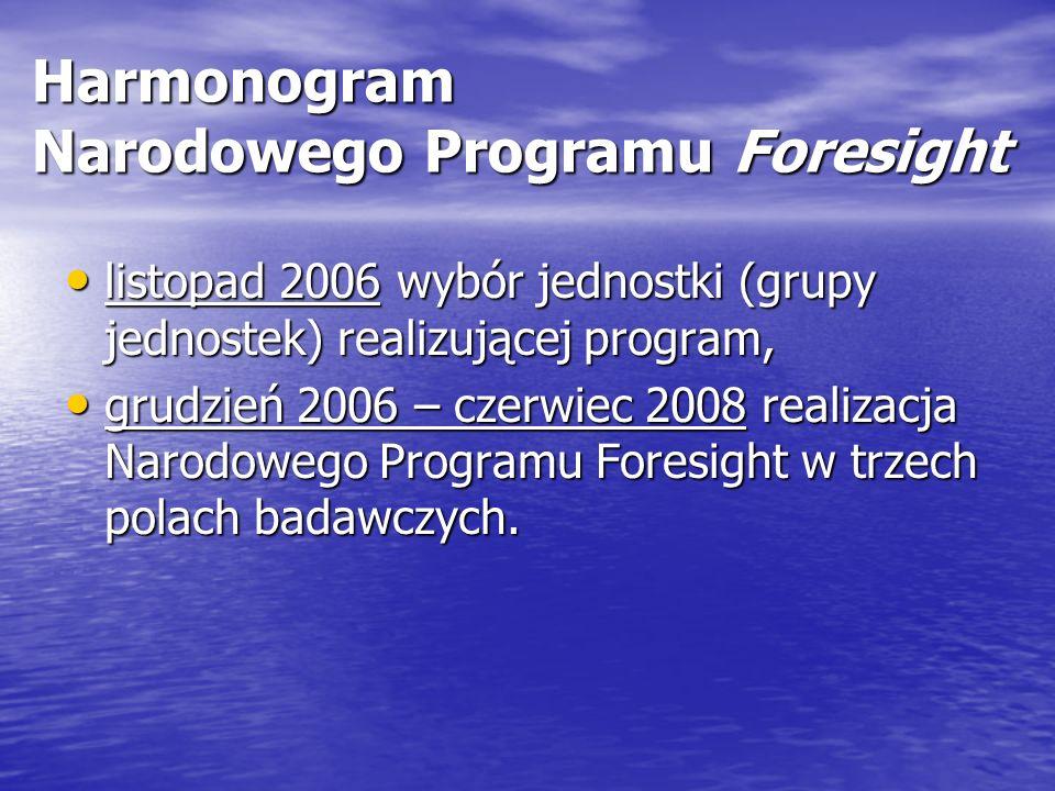 Harmonogram Narodowego Programu Foresight listopad 2006 wybór jednostki (grupy jednostek) realizującej program, listopad 2006 wybór jednostki (grupy jednostek) realizującej program, grudzień 2006 – czerwiec 2008 realizacja Narodowego Programu Foresight w trzech polach badawczych.