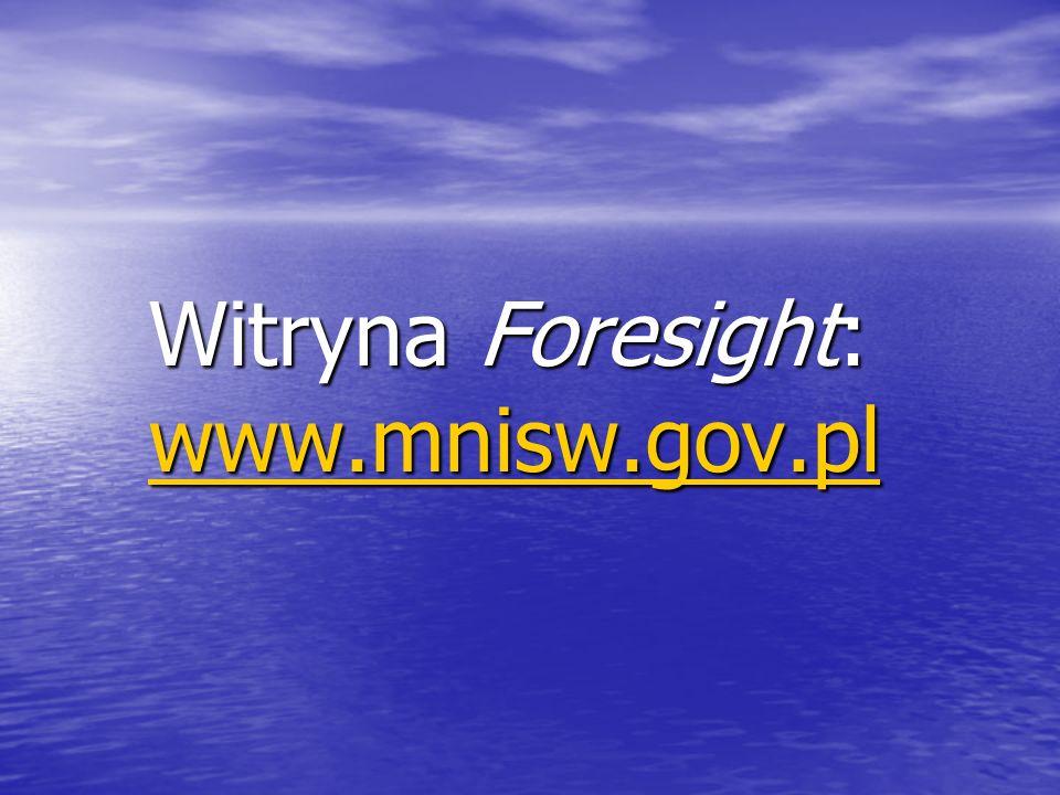 Witryna Foresight: www.mnisw.gov.pl www.mnisw.gov.pl