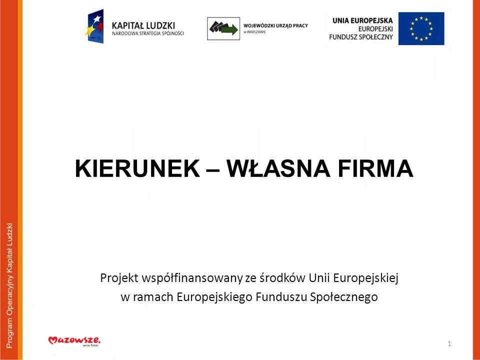 KIERUNEK – WŁASNA FIRMA Projekt współfinansowany ze środków Unii Europejskiej w ramach Europejskiego Funduszu Społecznego 1