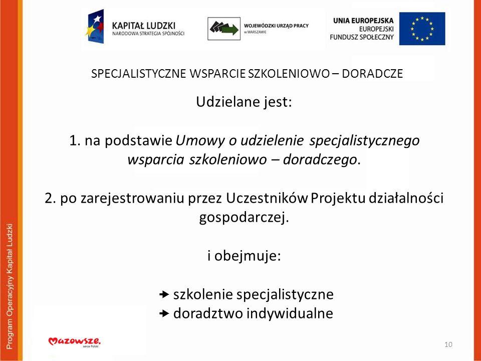 Udzielane jest: 1. na podstawie Umowy o udzielenie specjalistycznego wsparcia szkoleniowo – doradczego. 2. po zarejestrowaniu przez Uczestników Projek