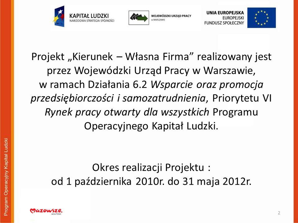 Projekt Kierunek – Własna Firma realizowany jest przez Wojewódzki Urząd Pracy w Warszawie, w ramach Działania 6.2 Wsparcie oraz promocja przedsiębiorc