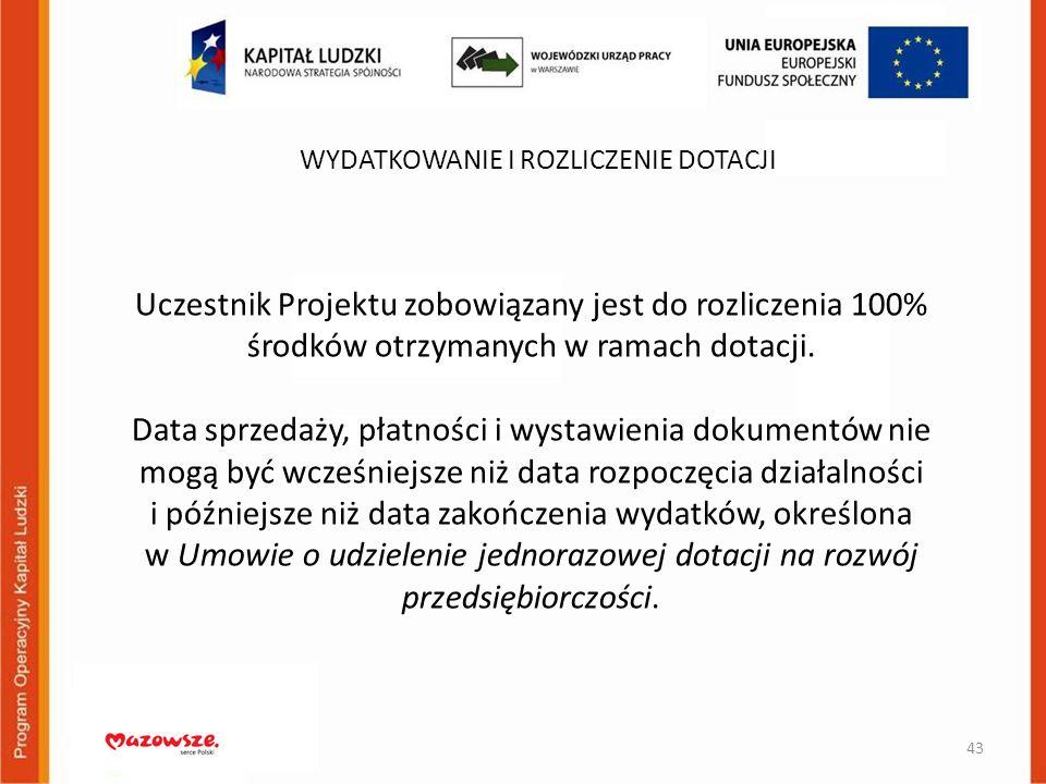 Uczestnik Projektu zobowiązany jest do rozliczenia 100% środków otrzymanych w ramach dotacji. Data sprzedaży, płatności i wystawienia dokumentów nie m