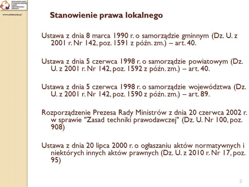 3 Stanowienie prawa lokalnego Ustawa z dnia 7 września 1991 r.
