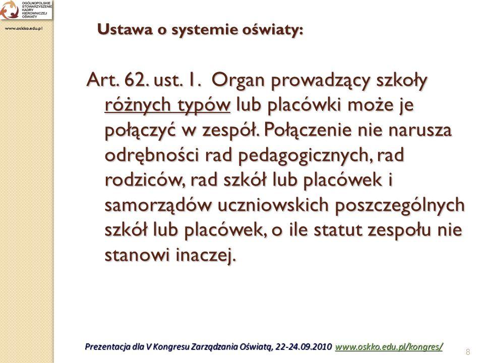9 Art.5. ust. 7. Organ prowadzący szkołę lub placówkę odpowiada za jej działalność.