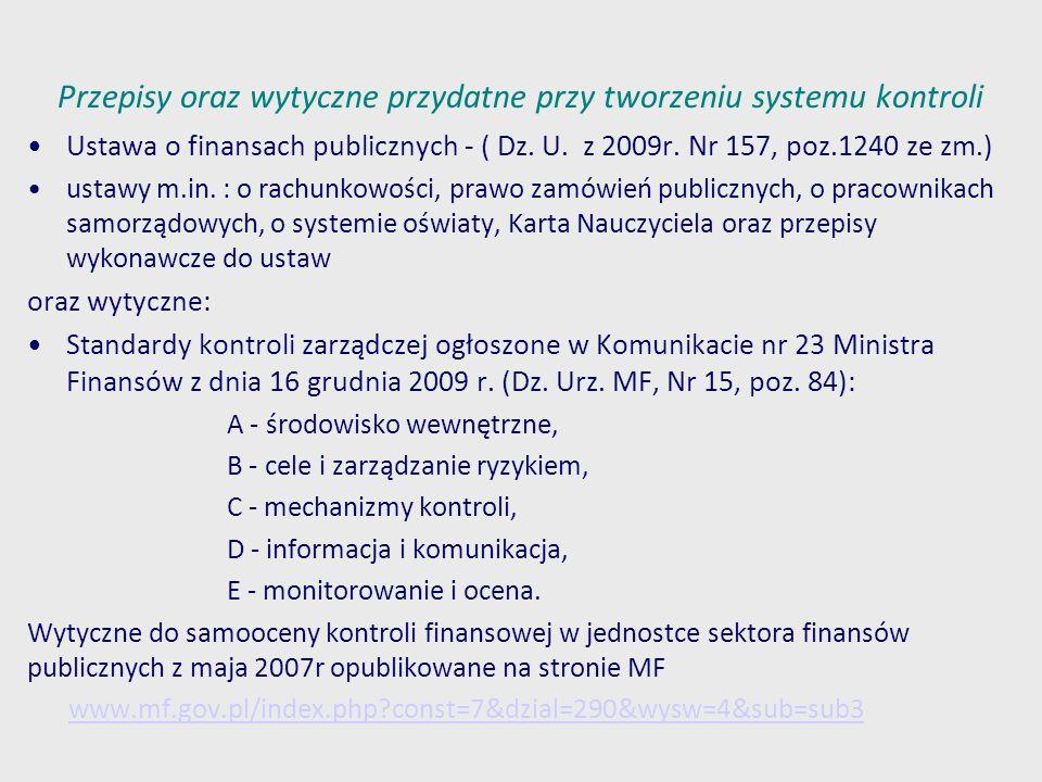 Przepisy oraz wytyczne przydatne przy tworzeniu systemu kontroli Ustawa o finansach publicznych - ( Dz. U. z 2009r. Nr 157, poz.1240 ze zm.) ustawy m.