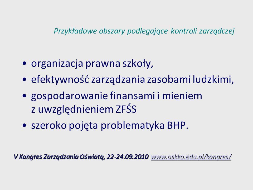 Przykładowe obszary podlegające kontroli zarządczej organizacja prawna szkoły, efektywność zarządzania zasobami ludzkimi, gospodarowanie finansami i m