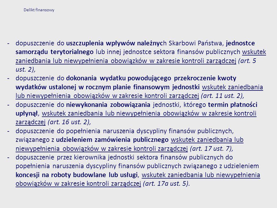 Delikt finansowy -dopuszczenie do uszczuplenia wpływów należnych Skarbowi Państwa, jednostce samorządu terytorialnego lub innej jednostce sektora fina