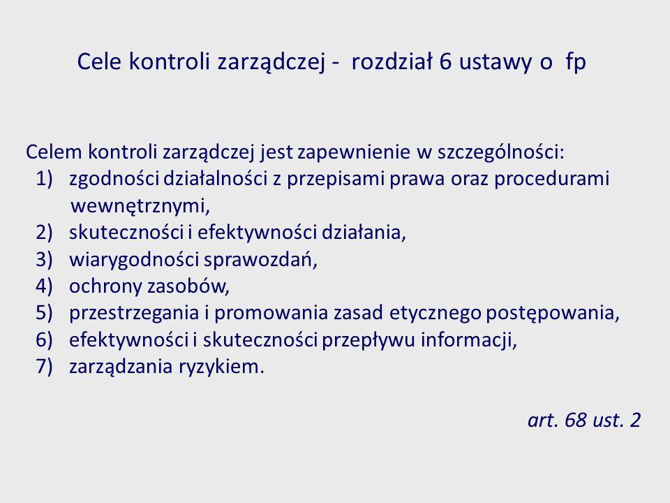 Cele kontroli zarządczej - rozdział 6 ustawy o fp Celem kontroli zarządczej jest zapewnienie w szczególności: 1) zgodności działalności z przepisami p