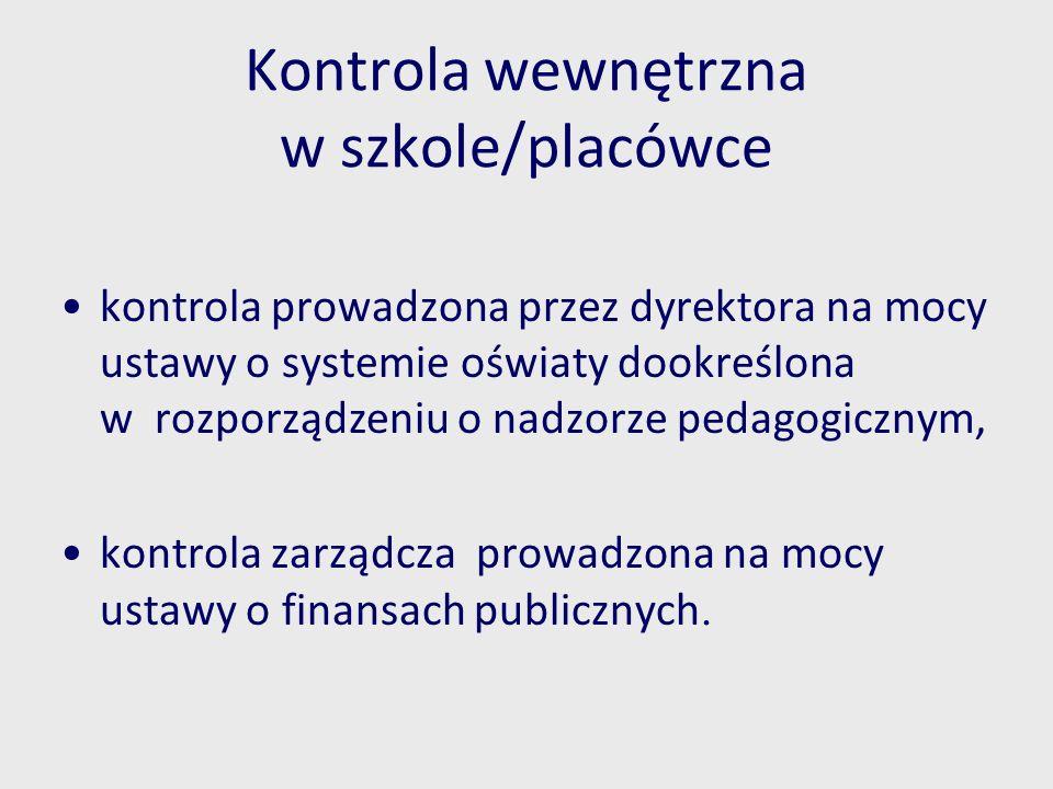 Kontrola wewnętrzna w szkole/placówce kontrola prowadzona przez dyrektora na mocy ustawy o systemie oświaty dookreślona w rozporządzeniu o nadzorze pe