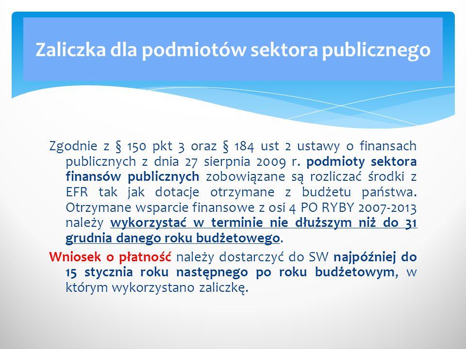 Zgodnie z § 150 pkt 3 oraz § 184 ust 2 ustawy o finansach publicznych z dnia 27 sierpnia 2009 r. podmioty sektora finansów publicznych zobowiązane są