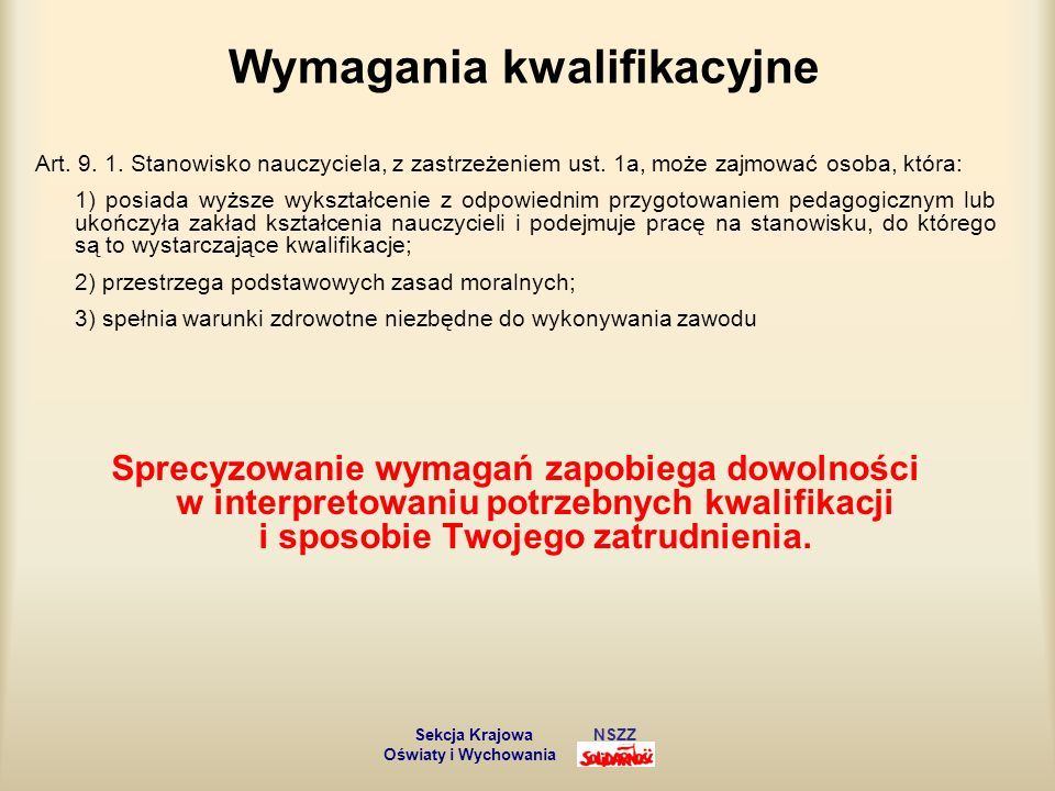 Awans zawodowy nauczycieli Art.9a. 1.