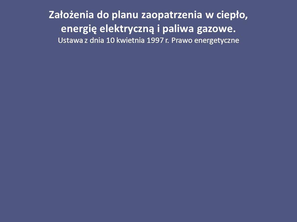 Założenia do planu zaopatrzenia w ciepło, energię elektryczną i paliwa gazowe. Ustawa z dnia 10 kwietnia 1997 r. Prawo energetyczne