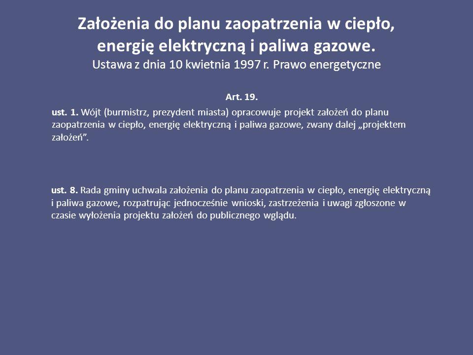 Założenia do planu zaopatrzenia w ciepło, energię elektryczną i paliwa gazowe. Ustawa z dnia 10 kwietnia 1997 r. Prawo energetyczne Art. 19. ust. 1. W