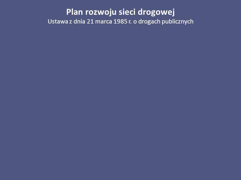 Plan rozwoju sieci drogowej Ustawa z dnia 21 marca 1985 r. o drogach publicznych