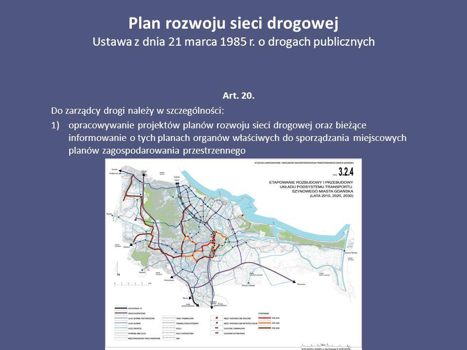 Plan rozwoju sieci drogowej Ustawa z dnia 21 marca 1985 r. o drogach publicznych Art. 20. Do zarządcy drogi należy w szczególności: 1)opracowywanie pr